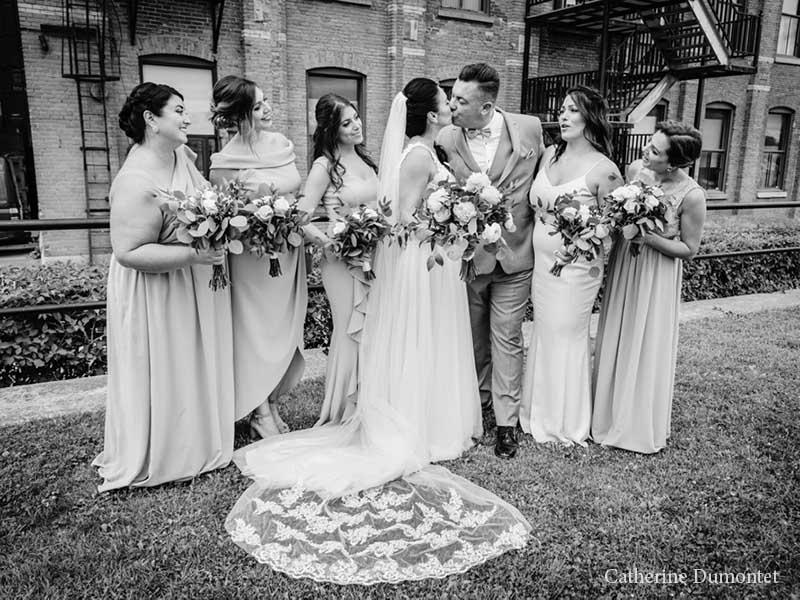 Les mariés et filles d'honneur à l'Ambroisie et l'Espace Canal
