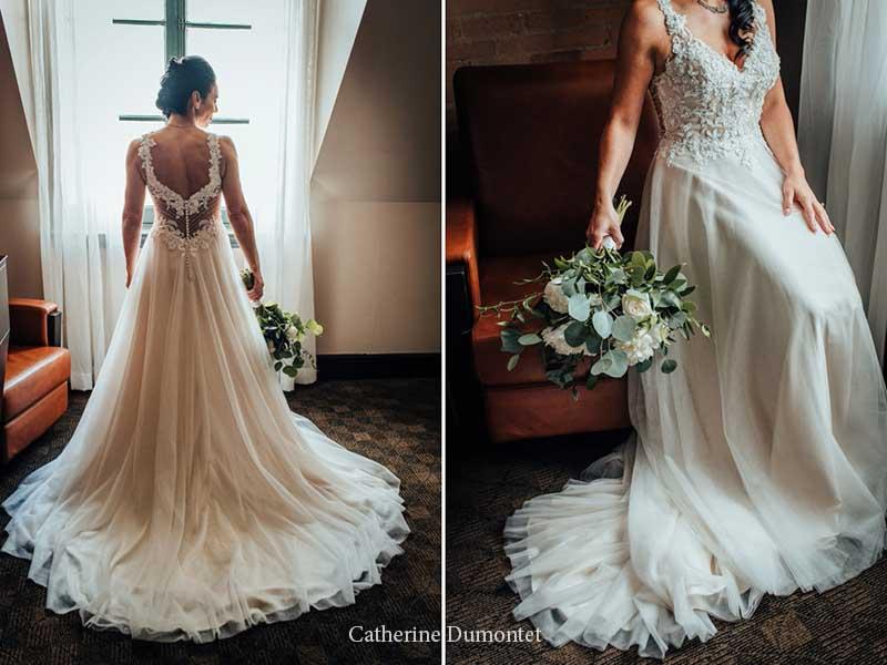 détails de la robe de la mariée à l'Hôtel Place D'Armes