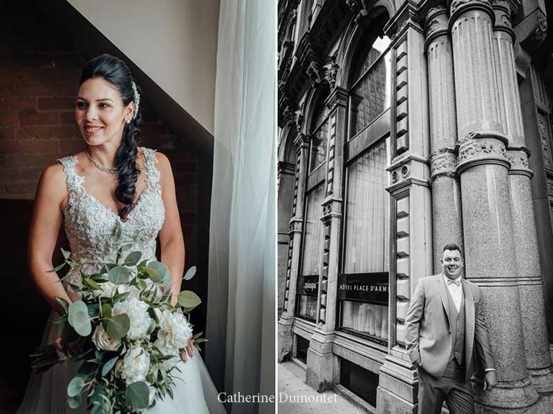 Portraits des mariés à l'Hôtel Place D'Armes