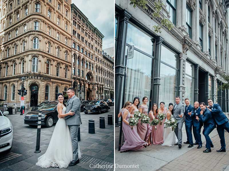 les mariés devant l'Hôtel Place D'Armes