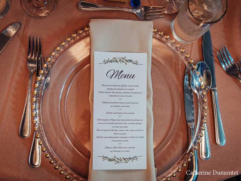 menu de mariage à l'Hôtel Place D'Armes