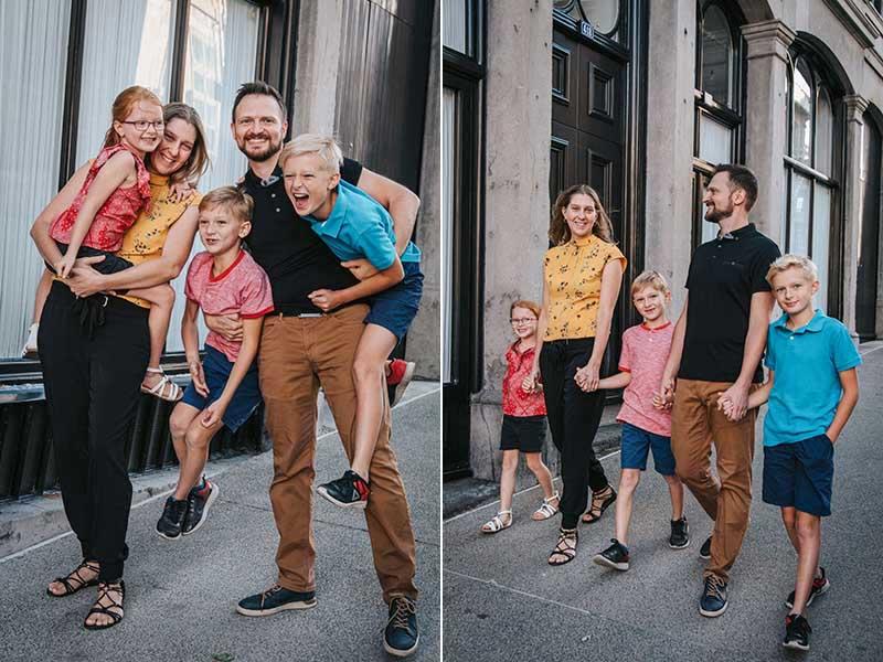 séance famille dans le Vieux-Montréal