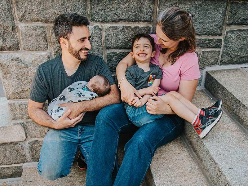 photo de famille au parc La Fontaine