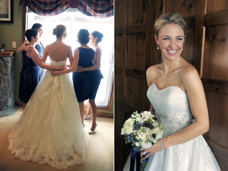 bride with bridesmaids in her room