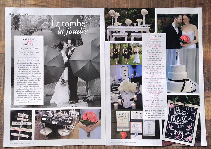 mariage d'Ici dans la revue Mariage Québec