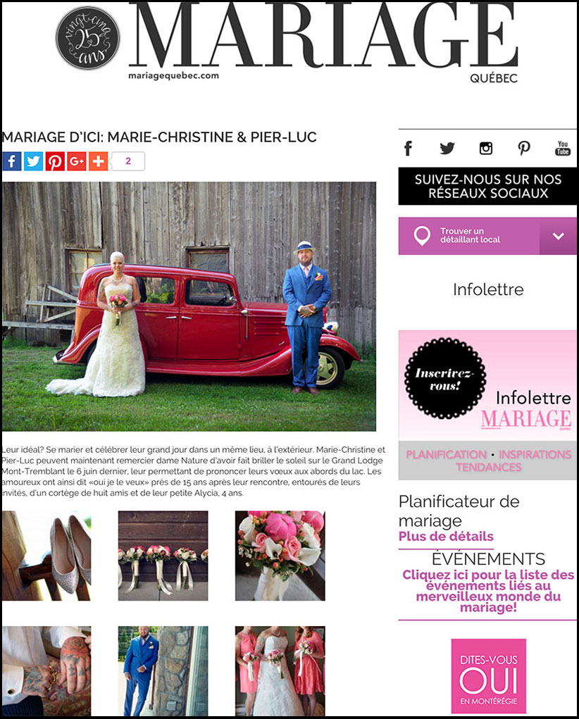 un mariage d'Ici sur le site de Mariage Québec