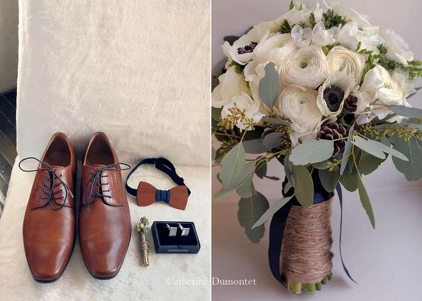 Accessoires du marié et bouquet de mariage