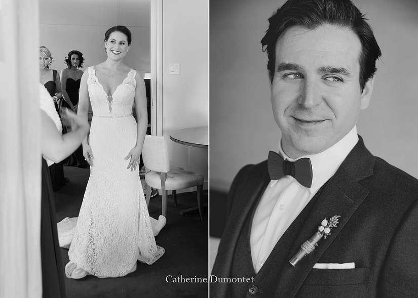 Portraits des mariés en noir et blanc
