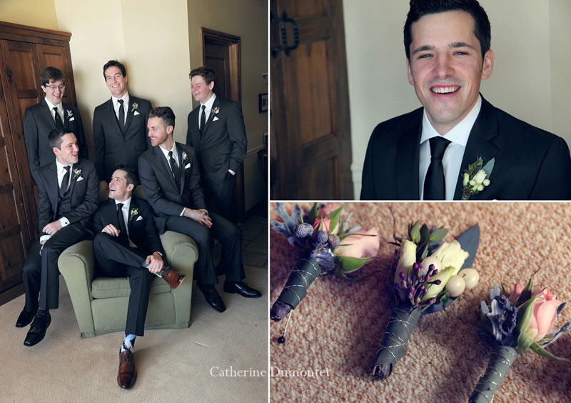 portraits of the groom and groomsmen