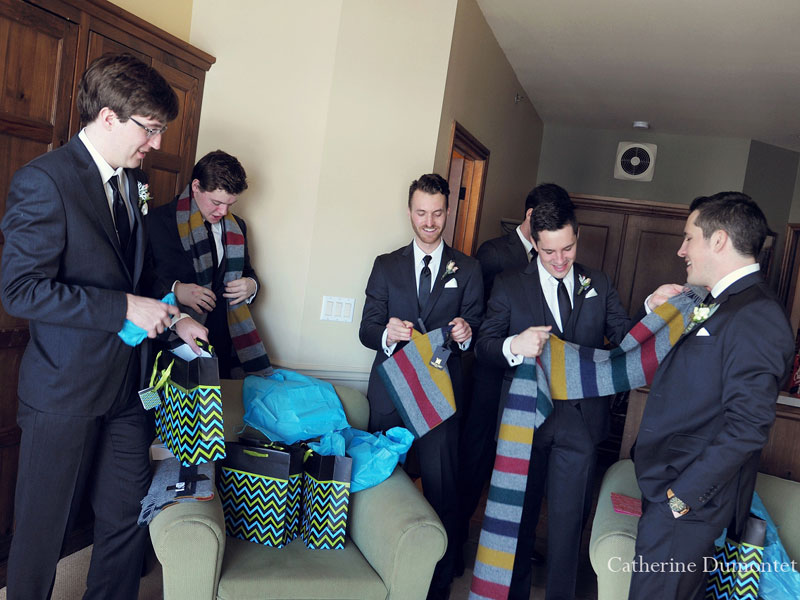 the groomsmen getting scarves