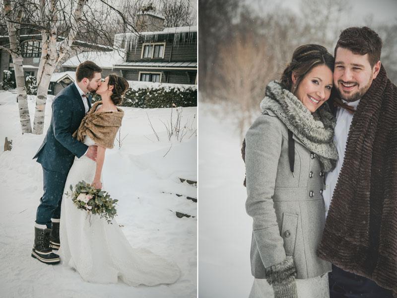 Mariage en hiver dans les Laurentides