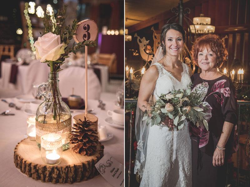 La mère de la mariée et centre de table
