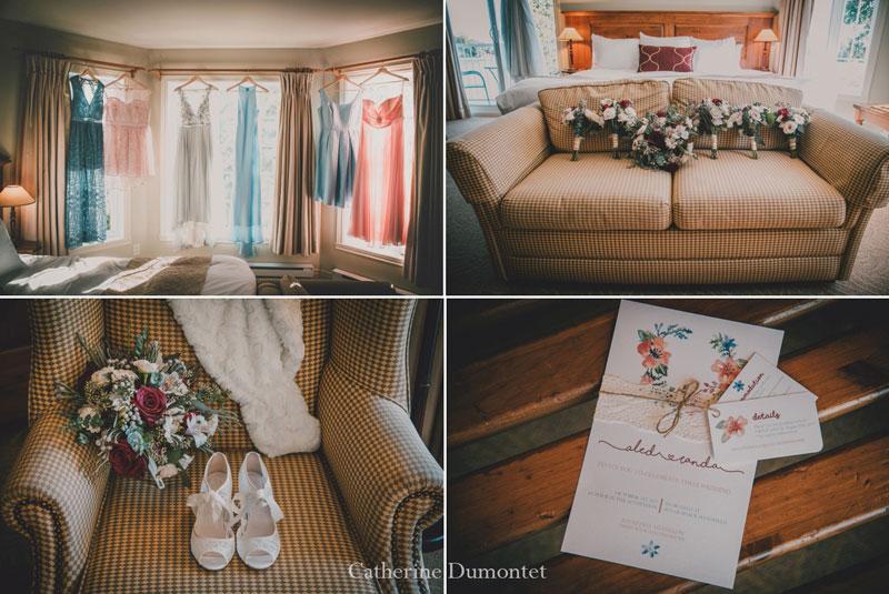 accessoires de la mariée à l'Auberge Handfield