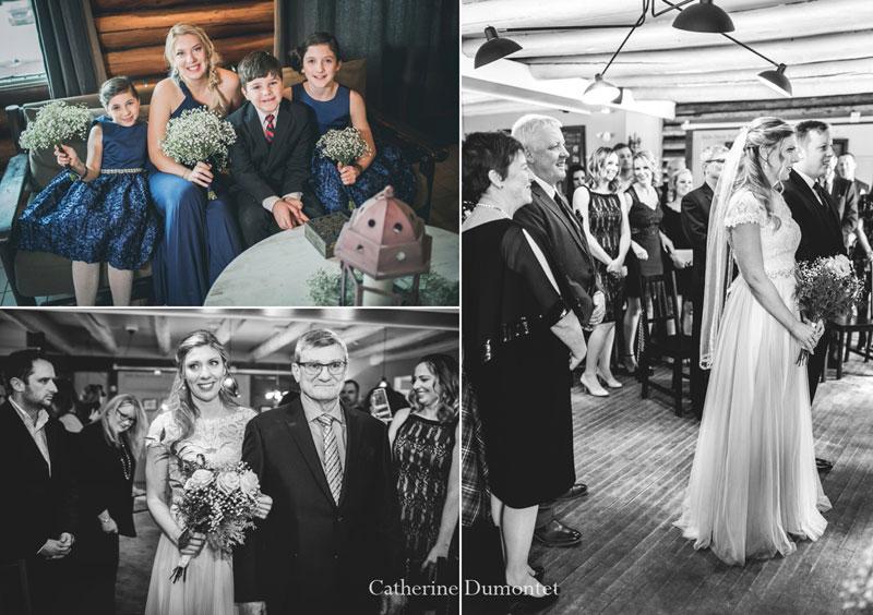 cérémonie de mariage d'hiver au Restaurant Le Rustique