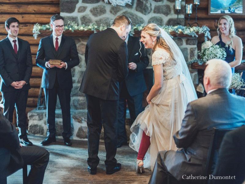 mariage d'hiver cérémonie au Restaurant Le Rustique