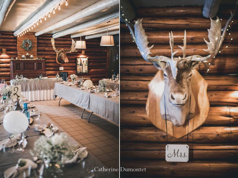 mariage d'hiver réception au Restaurant Le Rustique