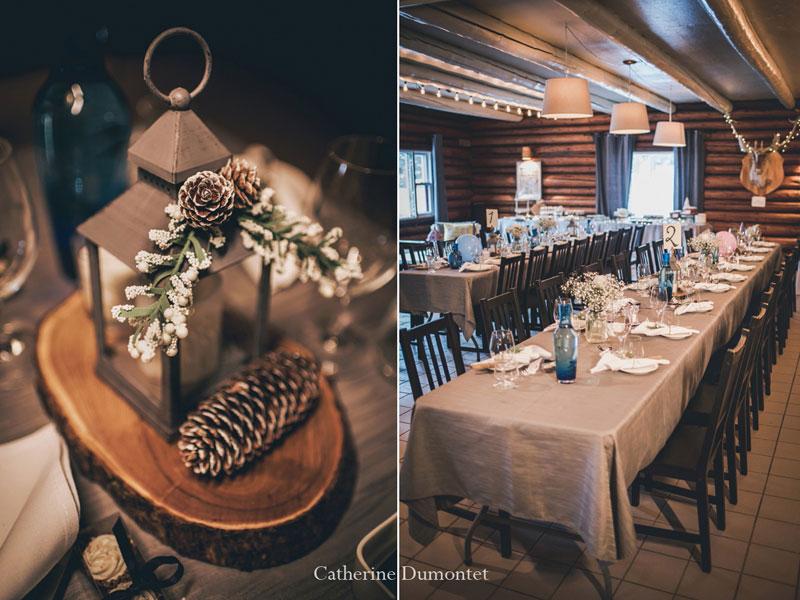 réception mariage en hiver dans les Laurentides