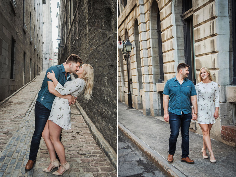 Engagement photo in old Montreal