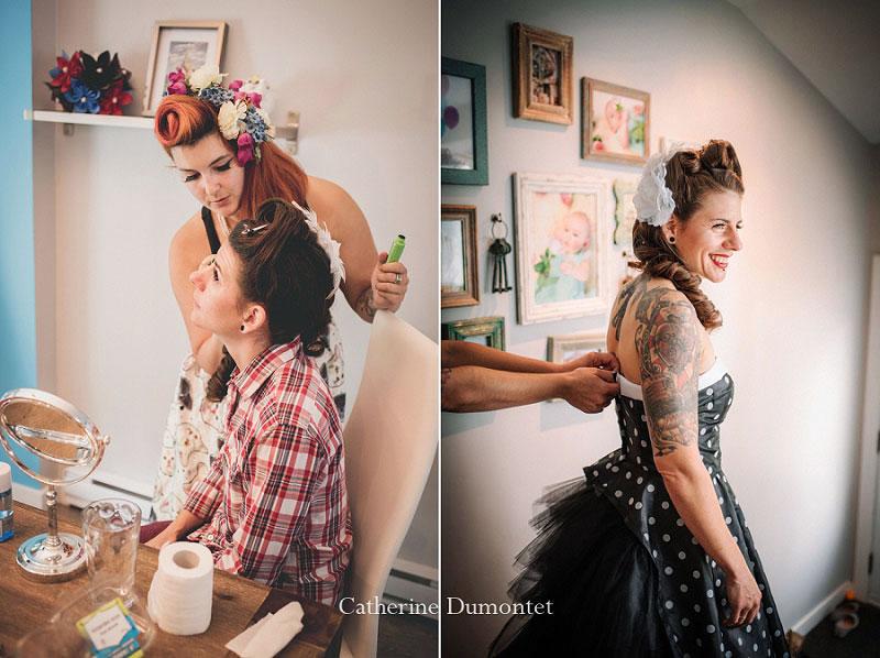 préparation de la mariée en noir