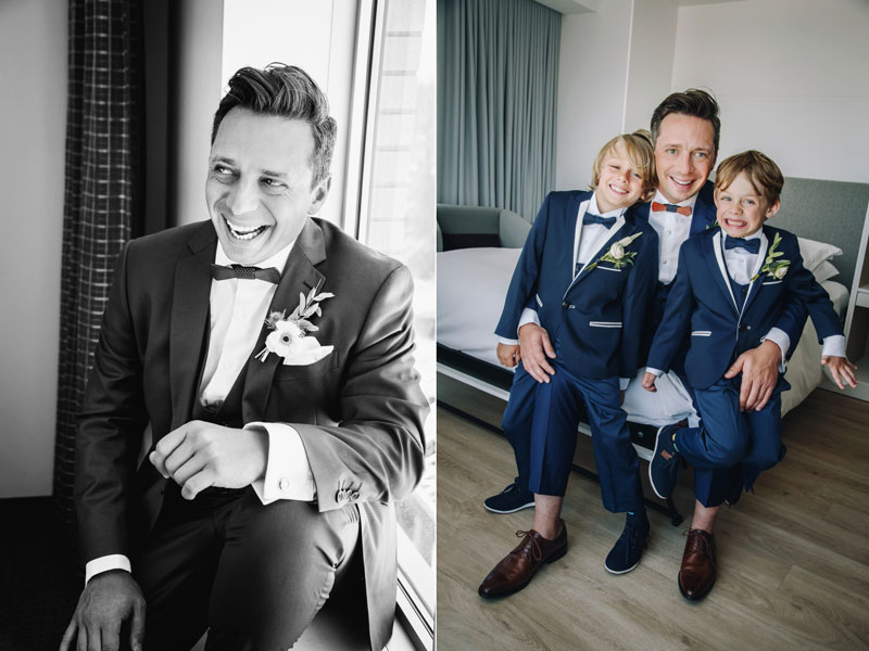 Portraits du marié avec ses fils