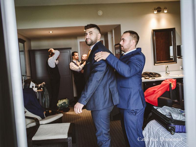 groom getting ready at Hotel Mont Gabriel