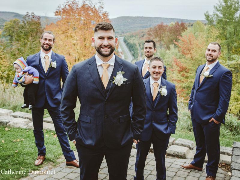 groom and groomsmen at Hotel Mont Gabriel