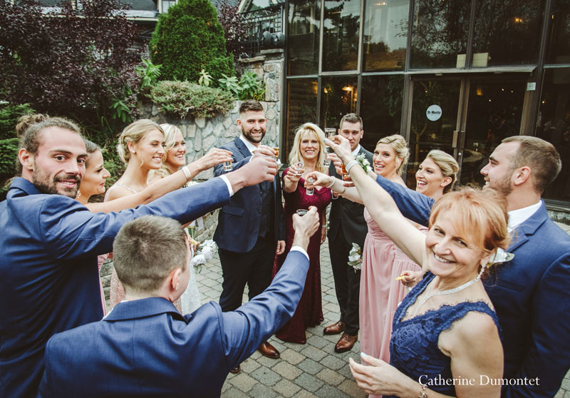 the bridal party and families at Hotel Mont-Gabriel