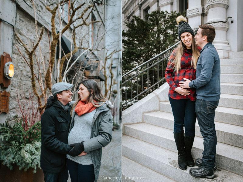 grossesse en hiver dans le Vieux-Montréal