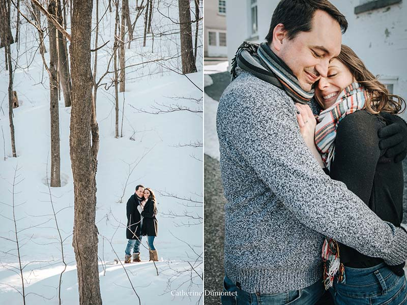 photos de fiançailles en hiver à Oka
