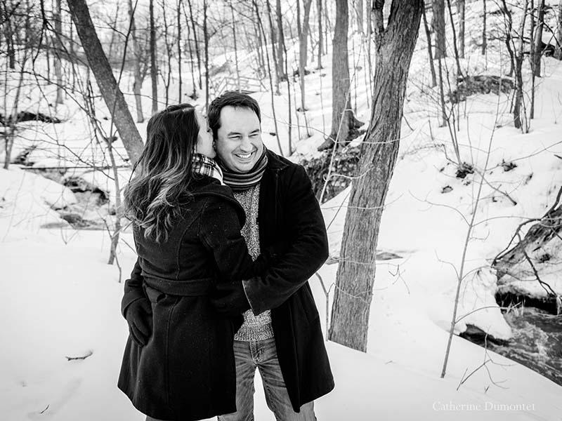 séance fiançailles en hiver