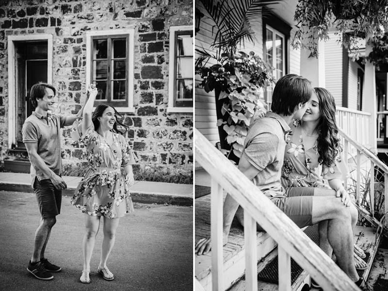 Couple de fiancés dans les rues de La Prairie