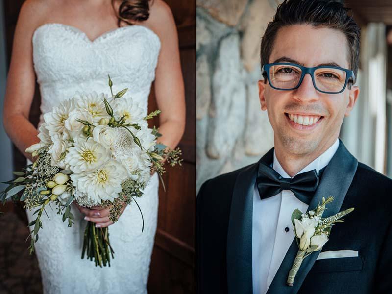 Portrait du marié et bouquet de fleurs